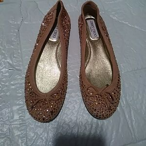 JIMMY CHOO PINK BEIGE SUEDE SPARKLY FLATS, 7